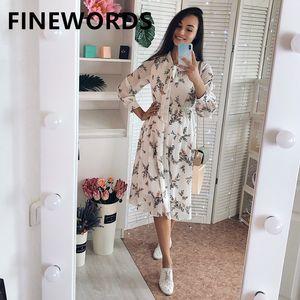 FINEWORDS 2020 Verão Floral Vintage Vestido coreano Chiffon Flor Imprimir Praia vestido elegante joelho doce bege do partido
