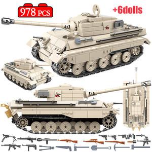 978PCS WW2 réservoir KINGTIGER militaire des blocs de construction militaire de l'éducation WW2 réservoir Soldat Arme Armée Bricks jouets pour les enfants