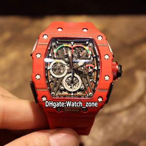 Новый RM50-03 / 01 McLaren F1 Skeleton Циферблат Miyota кварцевый хронограф RM50-03 Мужские часы Red Carbon Fiber Case Красный каучуковый ремешок Часы