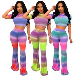 Le donne delle 2 parti tee set di abbigliamento sportivo tie dye manica corta di colore di contrasto superiore magro pantaloni pavimento di lunghezza moda abbigliamento estivo abito casual 760