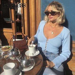 Bazaleas tiefere V-Ausschnitt Street Strickjacke-Center Perlenknöpfen Pullover Frauen Vintage Women Pull femme