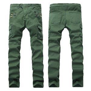 Balmain jeans da uomo pantaloni Distressed strappato Biker Jeans slim fit Motociclista denim per gli uomini di moda Jeans Uomo