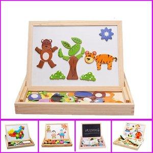 Giocattoli di legno Magnetic Puzzle Drawing Board puzzle Giocattoli per bambini puzzle 3D Drawing Board Children Learning Educational giocattolo di legno Y200413