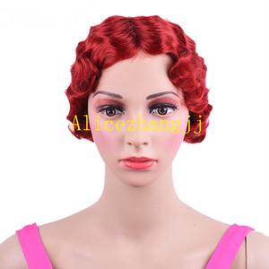 Perruque synthétique rose frisée courte pour femmes noires Finger Wave perruque résistante à la chaleur brune blonde afro-américaine Pixie Cut mommy perruque