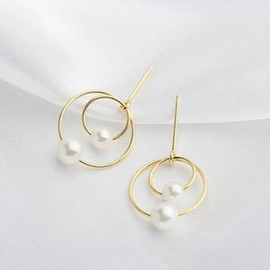 925 Sterling Silver fashion new fairy double pearls Stud Earrings Delicate Simple style earrings for girls