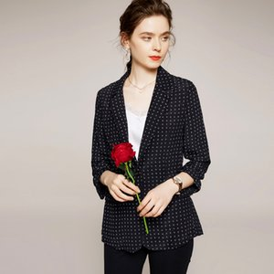 100% Silk Women's Blazers Notched Collar Long Sleeves Printed Fashion High Street Suits Blouse Outerwear