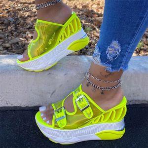 2020 New Summer Fashion PVC Wedge Slippers Female Transparent Belt Buckle Super High Heel Platform Large Size 43 Sandals Women