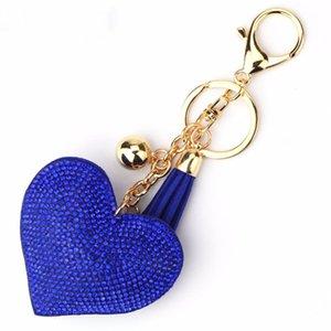 Perline di cristallo Portachiavi Car Borsa Ciondolo Charms Romantic Love Heart Portachiavi Donna lungo nappa Golden Key Chains