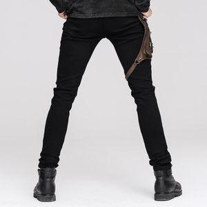 Devil Fashion Punk Leather Pants Men With Hip Holster Pocket Casual Vintage Halloween Stitched Casual Pants Men Tactical Pants