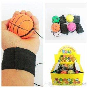 63 milímetros Throwing Bouncy Rubber Ball Wrist Band Bouncing Balls Crianças Elastic Reaction ferramenta de treinamento Anti-stress bolas ensino escolar
