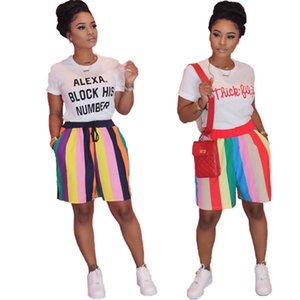 Women Summer Clothing designer Casual Relaxed 2 Piece Tracksuits Shorts +T-Shirt rainbow stripe Short SleeveTee shirts+Shorts Suit 3461