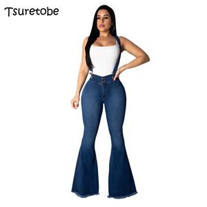 Tsuretobe Мода клеш джинсы штаны женщин высокого качества вскользь Спагетти ремень джинсы девушки Elegant Bodycon Ovealls Женский Платье