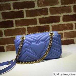 Top Quality Celebrity design Heart Cluth Marmont Shoulder Bag Women Genuine Leather Crossbody Messenger Bag Chain Belt 446744