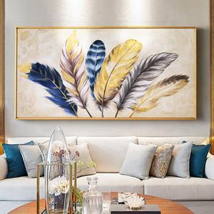 murales modernos de oro plumas lienzo abstracto pintura sala de estar casera pintura del dormitorio decoración de la pared funciona Y200102