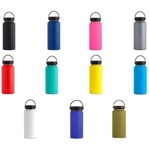 18 Unzen / 32 Unzen / 40 Unzen 304 Stahl-Wasserflasche Vakuum-Wasserflasche aus rostfreier isoliert breiten Mund große Kapazität Wasserflaschen mit lecksicherer Kappe flex
