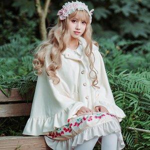 Brocade bahçe lolita Tatlı sıcak peluş kalınlaşmış yün Cloak yün Tu Er yün tavşan kulak yay cebi pelerin dışında