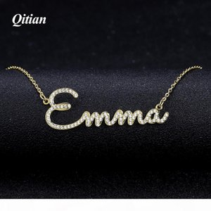 Qitian Any Name Necklace Stone Chain Iced Out Zirconia Necklaces Personalized Custom Necklace Fashion Jewelry New Arrival 2019