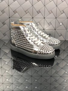 Hot Sale Paris Silver Paint Leather With Spikes Casual Shoes Women & Men Sneakers Fashion Red Bottom Shoes Classic Trainers With Original Bo