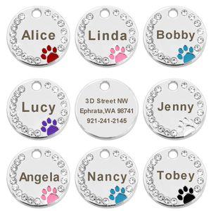 100шт/много пустой та собака питомец щенок кошка ID тегов выгравированы пользовательские собака воротник аксессуары из нержавеющей стали имя тега лапу для собаки кошки розовый