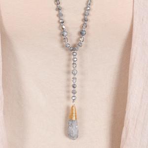 Природный камень Кварцевый Грановитой стеклянные кристаллы Gems бусы Завязывается Ярус кварц Подвеска ожерелья Knotted бусины кулон ожерелья
