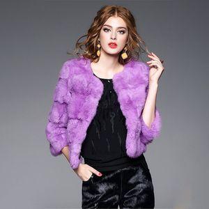 Элегантные моды натуральные меховые куртки женщины o шея 3/4 рукава реальные меховые пальто верхней одежды женщины кожаные пальто 2019 новый