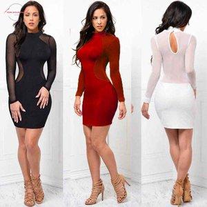 Женские платья видят через шеи с длинным рукавом повязку Bodycon вечер сексуальная вечеринка короткая над колено мини-платье