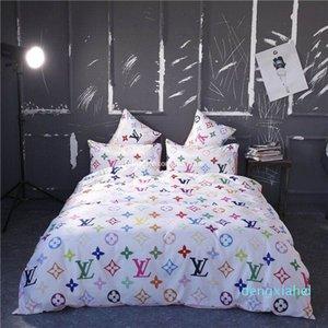 Carta Imprimir Luxo Conjuntos clássico Designer cama Moda Roupa de cama Consolador capa de edredão América estilo da cama Define frete grátis