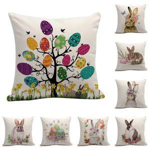 Feliz Pascua Funda de almohada linda Sonriente Conejito Conejo Color Huevos Casa Algodón Ropa de almohada Caja de almohada Cubierta de cojín personalizado