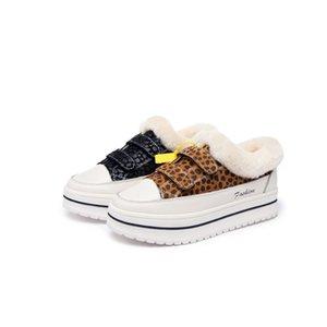 HookLoop leopardo calçados casuais Mulher Rodada Plataforma Toe Calçados Moda Preto Algodão Inverno Sapatos Zapatillas Mujer 35-39