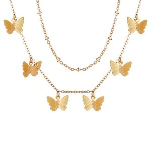 Declaración de la joyería del collar de la mariposa de verano en capas Gargantilla del color oro lindo de la mariposa Animal Charm Chockers de la Mujer 2020