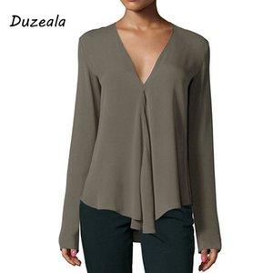Duzeala Sonbahar Vintage Kadınlar Şifon Bluz Gömlek V Yaka Uzun Kollu Kadın Tunik Rahat Artı Boyutu Bluz Kimono mujer 2018