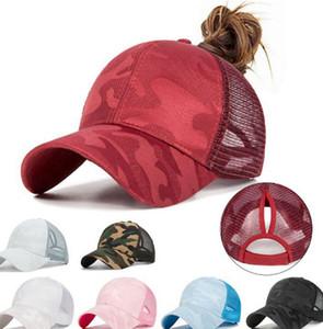 Summer Ponytail Messy Bun Baseball Cap Hip Hop Camouflage Breathable Mesh Back Adjustable Snapback Hat 7 colors LJJK2038