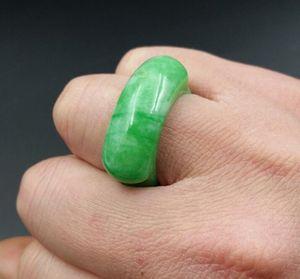 Jade naturel Myanmar jade anneau de jade vert selle verte selle gros Yang anneau vert hommes et femmes avec le même anneau
