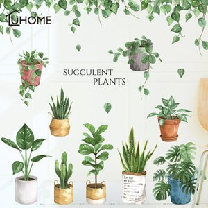 Green Leaf Bonsai Potted Flower Plants Wall Stickers Decorative Sticker Home Decor Kitchen Window Living Room Decor Decal T200601