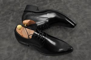 Мужской черный вина офис партия ручной обувь мода заостренный носок шнурки ботинки платье из натуральной кожи FALT Оксфорда