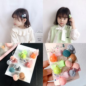 2020 New Korea Simple Color Hair Pins Fabric Balls Cute Mesh Bow Children Small Hair Clips for Girl Fashion Accessories