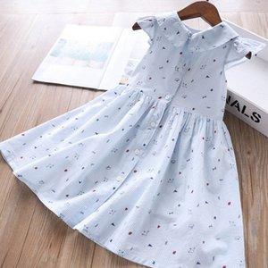 2020 Yaz Yeni Stil Kız Peter Pan Yaka Kol Kuş Açık Toka İnce Çizgili Elbise Çocuk Giyim 3-7 yaşında Toptan