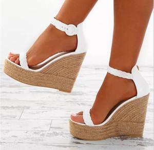 Charm2019 Mulheres Sexy Sandálias de Cunha Plataformas de Salto Alto Plataforma de Couro PU Chaussure Zapatos Senhoras Cânhamo Loop Sapatos F180568