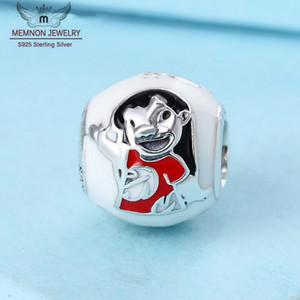 100% de plata de la joyería 925 de la puntada Lilo mezclado encanto del esmalte que los granos caben Pandora estilo europeo collar de las pulseras de la joyería de bricolaje 796338ENMX