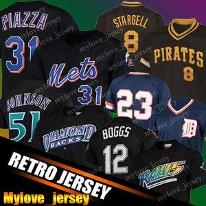 31 Mike Piazza Jersey 12 Wade Boggs Jerseys 51 Randy Johnson Retro Malha Baseball Jerseys 23 Kirk Gibson 8 Willie Stargell Johnny Bench