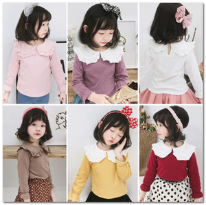2020 New girls T-shirt kids falbala lapel flare sleeve princess tops children cotton all matching bottoming shirt spring girls clothes J2785