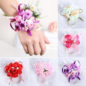 50pcs / set pulso Flor do casamento da dama de honra Sisters pulso buquê de flores decorativa nupcial Prom Mão Simulação Flores Pulseira HHA772