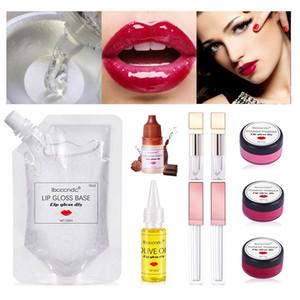 간편한 립 글로스 DIY 키트 보습 립글로스 자료 젤 안료 분말 올리브 오일의 맛 에센스 립 글로스 튜브 수제 메이크업