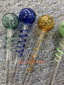 Newest Spiral Style Clear Glass Pipe Smoking Handle Pipes Curved Smoking Pipes Hand Blown Recycler Best Oil Burner Free Shipping