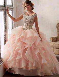 Magníficos del vestido de bola de los vestidos de quinceañera 2020 del vestido de bola de la mascarada del dulce 16 abalorios de cristal vestido Vestidos De 15 Anos por encargo