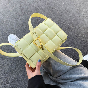 Jin Mantang Petit Weave Sacs à rabat pour les femmes de bonne qualité New Mode PU Sac à bandoulière en cuir Femme d'été Sacs à main bandoulière