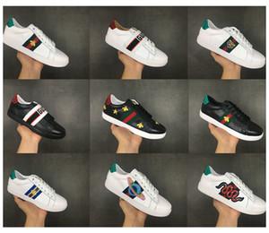 2019 En Kaliteli Arılar Tasarımcı Ayakkabı Işlemeli Erkek ve Bayan ACE Hakiki Deri Tasarımcısı Sneakers Siyah Rahat Ayakkabılar Boyutu 36-45