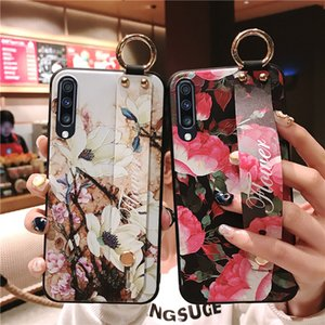 For Samsung Galaxy S8 S9 S10 plus S10e Note 9 8 A70 A60 A40 A50 A30 A10 A750 Flower TPU Wrist Strap Phone Holder Case With Finger Ring