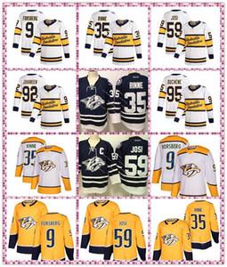 Mens Nashville Predators Jersey 59 Roman Josi 95 Matt Duchene 35 Pekka Rinne 9 Filip Forsberg 92 Ryan Johansen la meilleure qualité Jersey Hockey