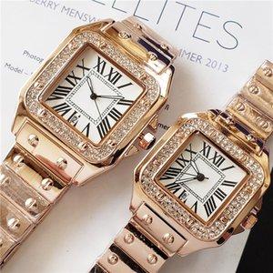 Los amantes de las mejores marcas miran hombres 40 mm mujeres 33 mm Reloj de zafiro clásico Reloj de diamantes de imitación de oro rosa Relojes de vestir para mujer montres orologio